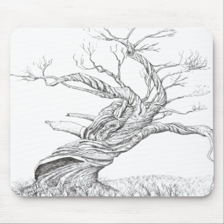 Snow gum twisted trunk black and white ink drawing mouse pad