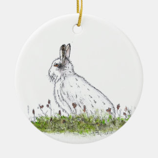 Snow Hare Round Ceramic Decoration