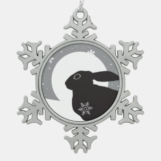 Snow Hare Snowflake Pewter Christmas Ornament