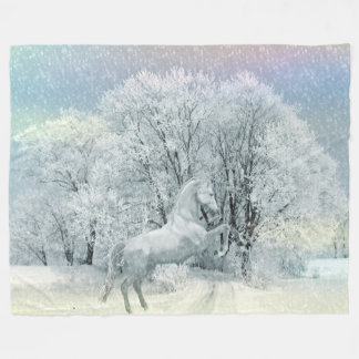 Snow Horse Fleece Blanket, Large