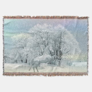 Snow Horse Throw Blanket