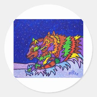 Snow Hunt by Piliero Round Sticker