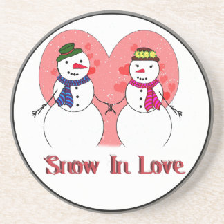 Snow In Love Beverage Coasters