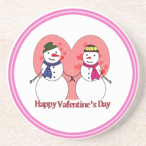 Snow in Love - Happy  Valentine's Day Beverage Coasters