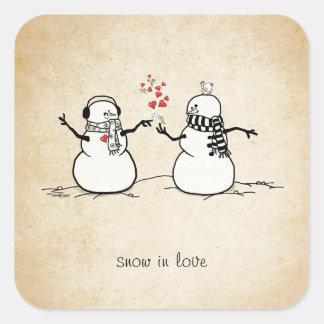 Snow in Love - love note Square Sticker