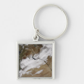 Snow in Syria Silver-Colored Square Key Ring