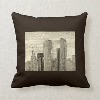 Snow in the City Abstract Art Sepia Grey and White Throw Cushion