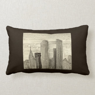 Snow in the City Abstract Art Sepia Grey and White Throw Cushions