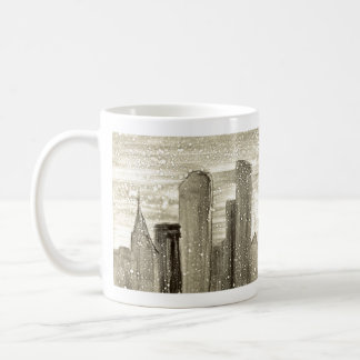 Snow in the City Abstract Monotype Print Classic White Coffee Mug
