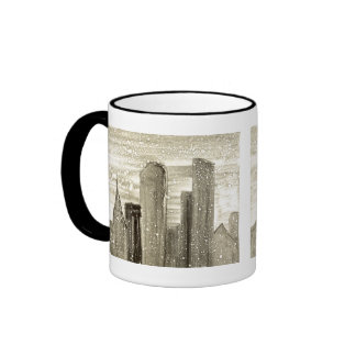 Snow in the City Abstract Monotype Print Ringer Coffee Mug