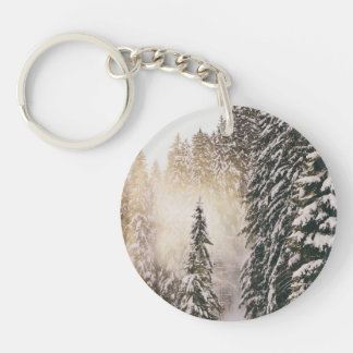 Snow In The Forest With Sunshine Single-Sided Round Acrylic Key Ring