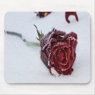 Snow Kissed Rose Mouse Pad