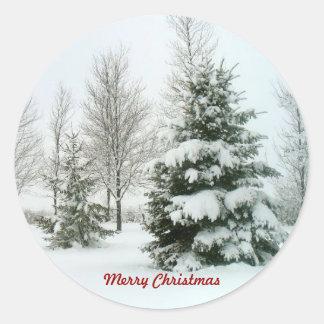 Snow-Laden Trees, Merry Christmas Round Sticker