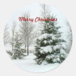 "Snow-Laden Trees, ""Merry Christmas"" Round Sticker"