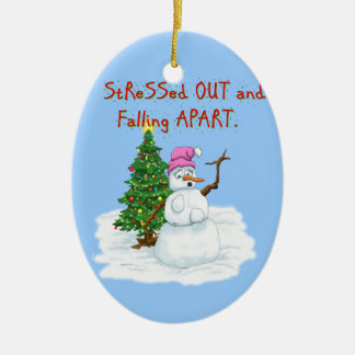 Snow lady stressed out and falling apart christmas ornament