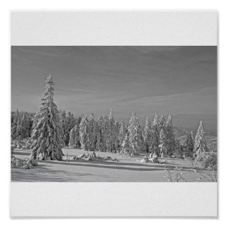 Snow landscape black and white poster