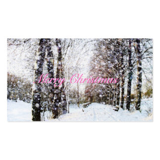 Snow Landscape Merry Christmas Pink Gift Tags Pack Of Standard Business Cards