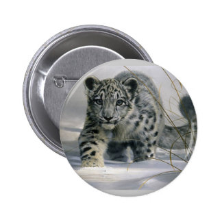 Snow leopard 6 cm round badge