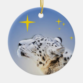Snow Leopard and The Stars Christmas Ornament