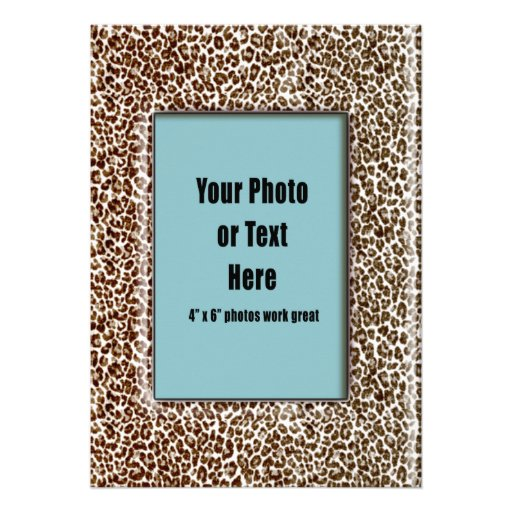 Snow Leopard Animal Print Frame Personalized Announcements