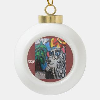 Snow Leopard  art Ceramic Ball Decoration
