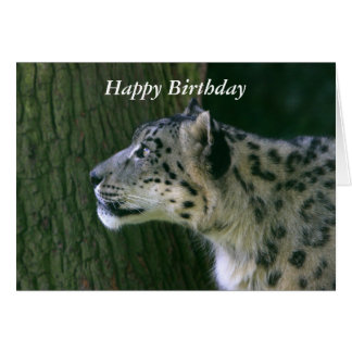 Snow leopard beautiful photo happy birthday card