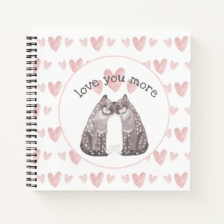 Snow Leopard Cats Snuggle with Pink Hearts Notebook