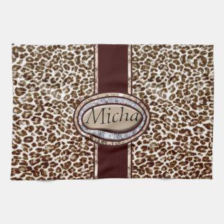 Snow Leopard Champagne Diamond Monogram Tea Towel