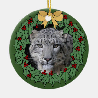 Snow Leopard Conservancy-Asha in Wreath Christmas Ornament
