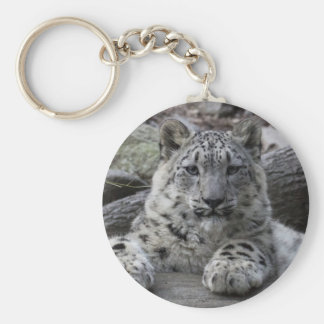 Snow Leopard Cub Sitting Basic Round Button Key Ring