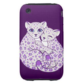 Snow Leopard Cubs Cuddling Art Tough iPhone 3 Cases