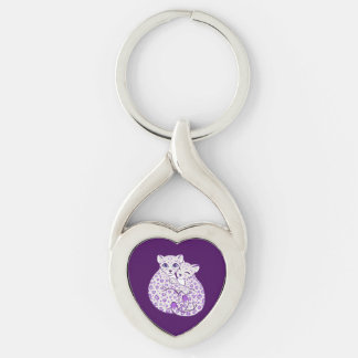 Snow Leopard Cubs Cuddling Art Silver-Colored Twisted Heart Key Ring