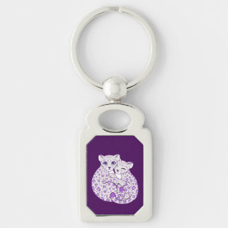 Snow Leopard Cubs Cuddling Art Silver-Colored Rectangle Key Ring