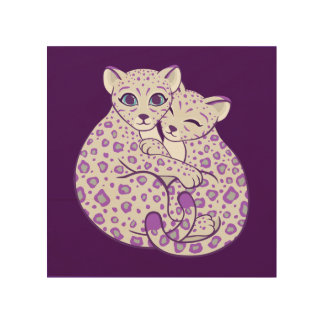 Snow Leopard Cubs Cuddling Art Wood Canvases