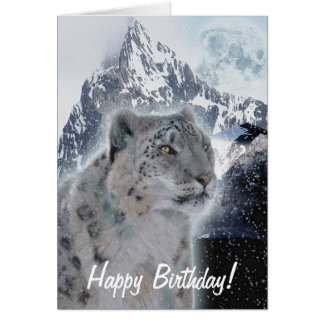 Snow Leopard Endangered Species Birthday Card