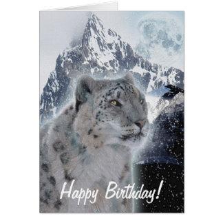 Snow Leopard Endangered Species Birthday Card