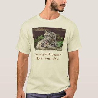 """SNOW LEOPARD"" Endangered Species of Big Cat T-Shirt"