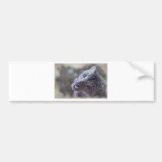 snow leopard face bumper sticker
