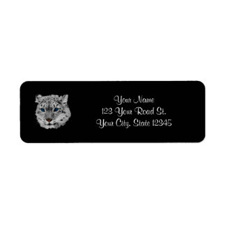 Snow Leopard Fractal Return Address Label