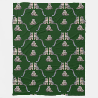 Snow Leopard Frenzy Fleece Blanket (Dark Green)