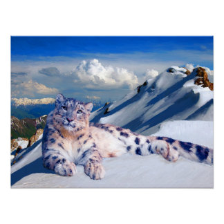 Snow Leopard on the Roof of the World Archival Poster