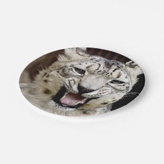 snow leopard paper plate