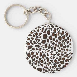 Snow Leopard Print Basic Round Button Key Ring