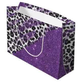 Snow Leopard Print Brushstrokes on Faux Glitter Large Gift Bag