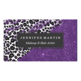 Snow Leopard Print Brushstrokes on Faux Glitter Pack Of Standard Business Cards