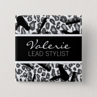 Snow Leopard Print (Custom) Hair Salon Name Badge