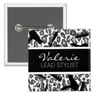 Snow Leopard Print (Custom) Hair Salon Name Badge