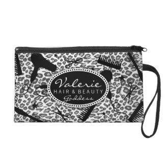 Snow Leopard Print Hair Salon Tools (Custom) Bag Wristlet Clutch