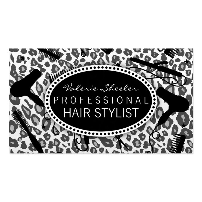 Snow leopard print hair salon tools custom business card templates reheart Images