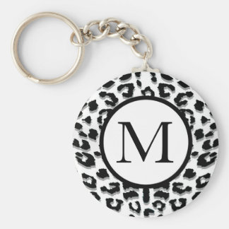 Snow Leopard Print with Custom Monogram Key Ring